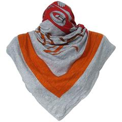 Rare Hermes Cotton Scarf Shawl T-Shirt Monsieur Madame Grey Red Orange 117 cm