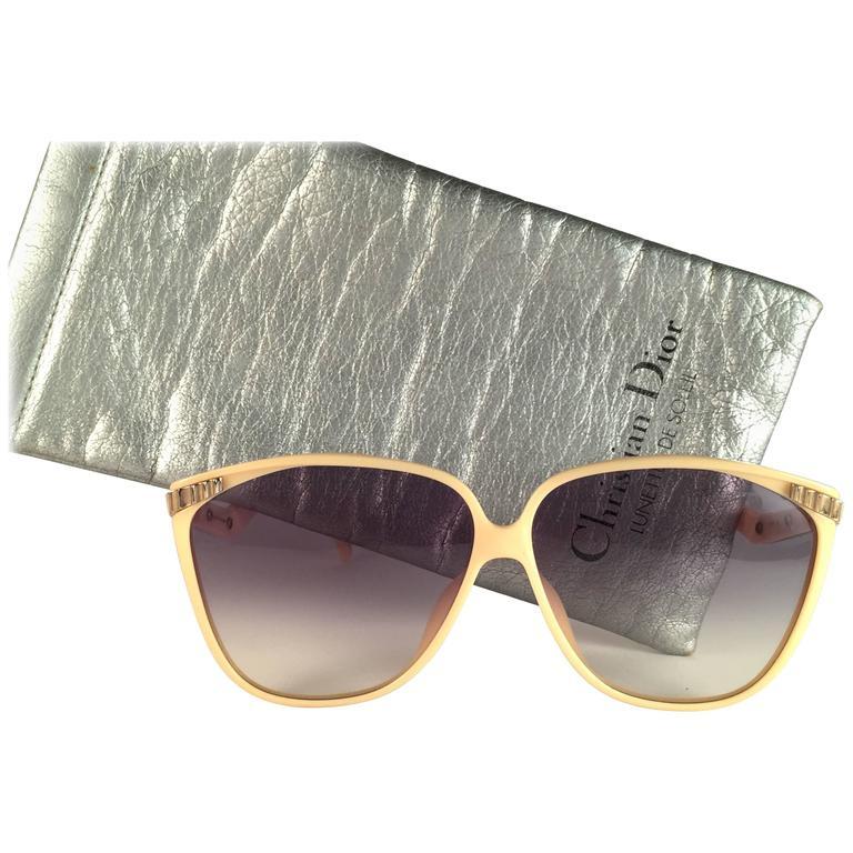 New Vintage Christian Dior 2279 70 Beige Gold Inserts Optyl Sunglasses Austria