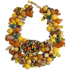 Francoise Montague Vintage Glass Bead and Swarovski Crystal Statement Necklace