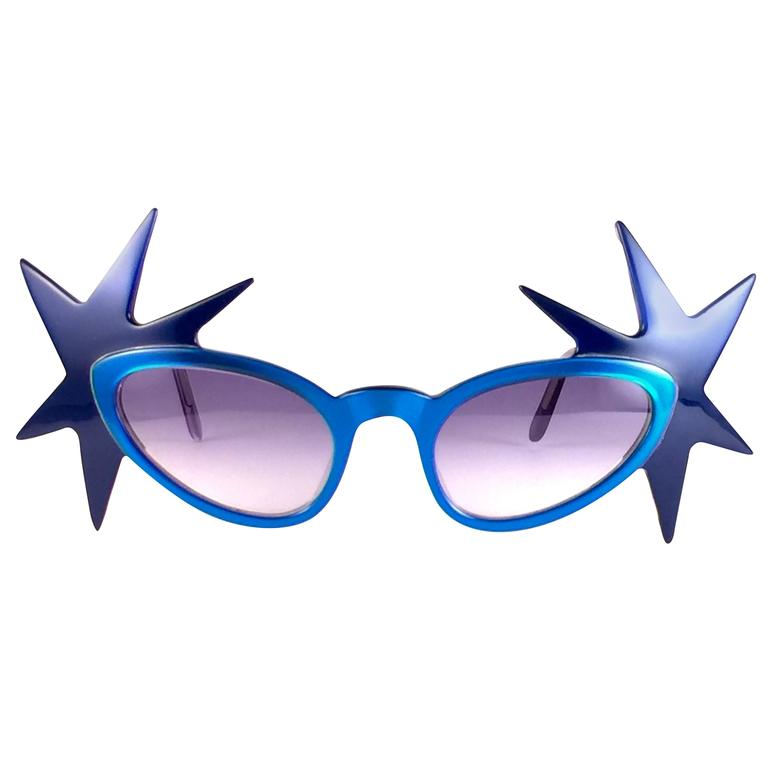 """New Vintage Anglo American Optical """" Double Star """" Two Tone Blue Sunglasses 1970 For Sale"""