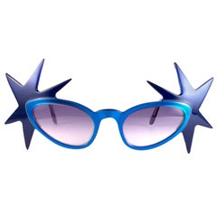 """New Vintage Anglo American Optical """" Double Star """" Two Tone Blue Sunglasses 1970"""