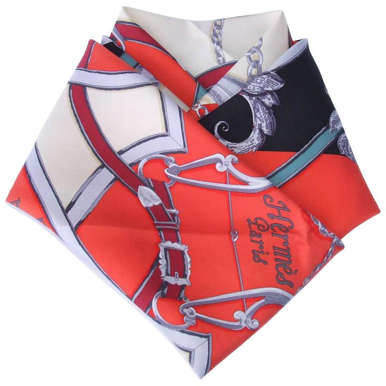 Hermes Silk Scarf Instruction Du Roy Orange Black Beige 90 cm