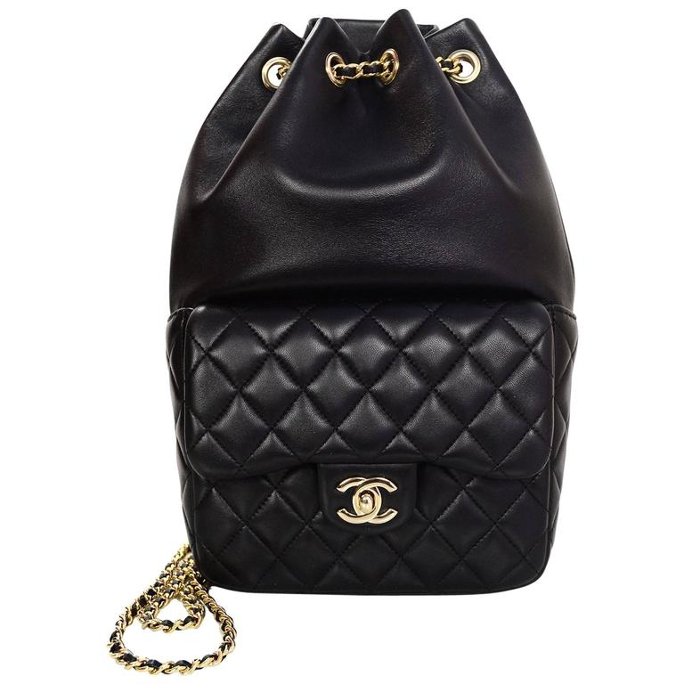 Chanel Black Lambskin Leather Small Paris In Seoul Backpack Bag For Sale