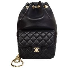 Chanel Black Lambskin Leather Small Paris In Seoul Backpack Bag