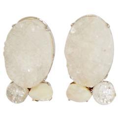 Vintage Siman Tu Druzy, Quartz, and Mother of Pearl Clip Earrings