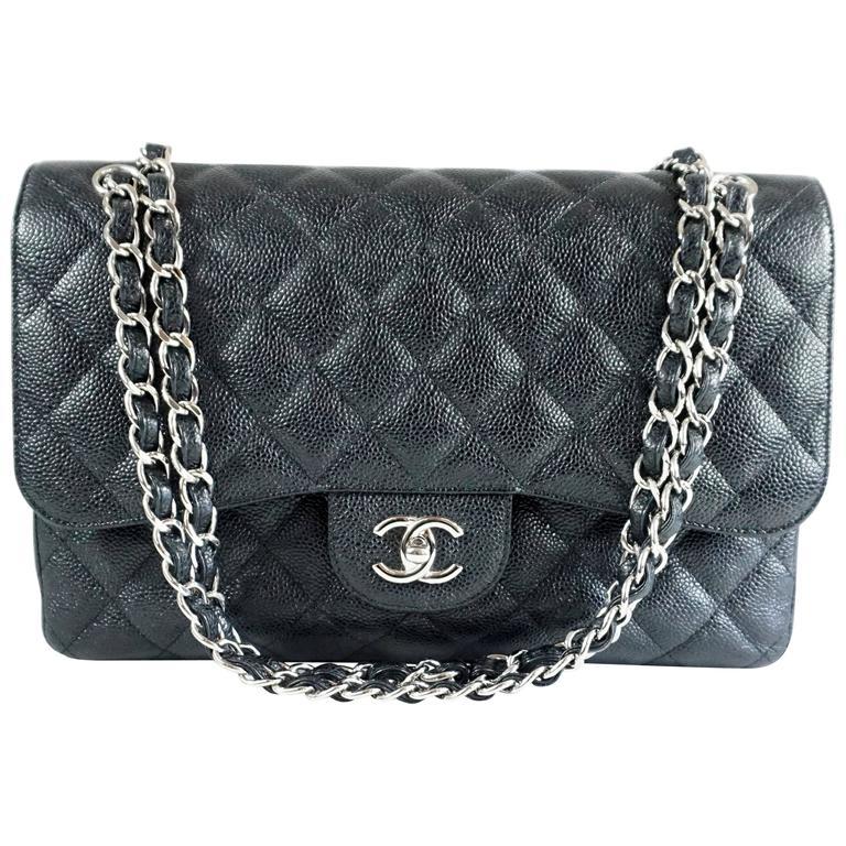 Chanel Black Caviar Jumbo Classic Handbag - SHW - 2013  1