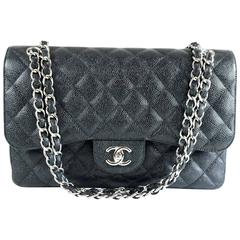 Chanel Black Caviar Jumbo Classic Handbag - SHW - 2013
