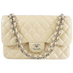 Chanel Beige Caviar Jumbo Classic Double Flap Handbag - 2015