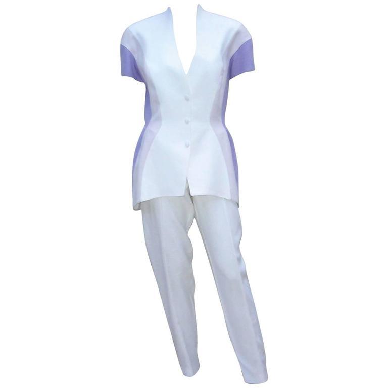 Futuristic 1980's Thierry Mugler White & Purple Linen Pant Suit