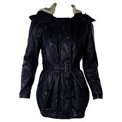 Navy Blue Burberry Brit Coated Hooded Jacket