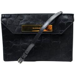 Balenciaga Black Calf Hair Clutch Crossbody Bag