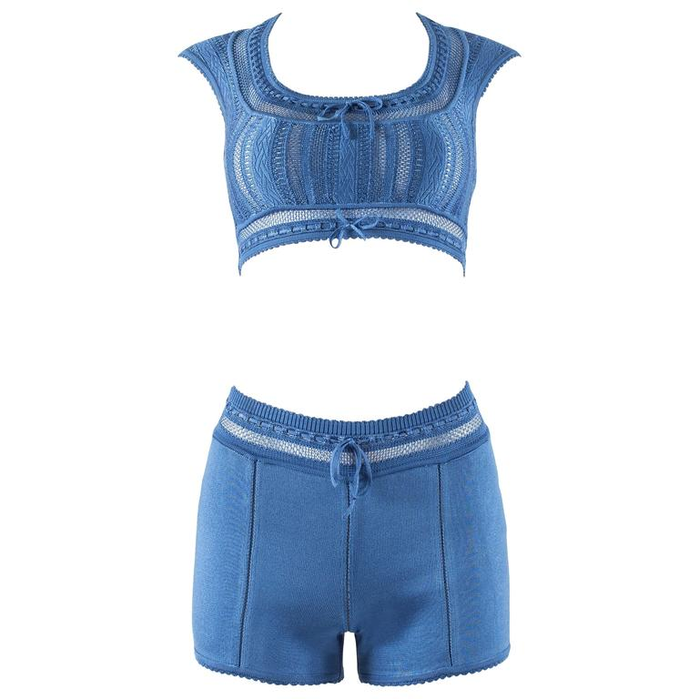Alaia Spring-Summer 1993 blue knit mini shorts and bra top ensemble  For Sale
