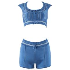 Alaia Spring-Summer 1993 blue knit mini shorts and bra top ensemble
