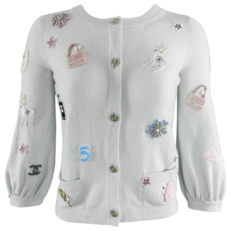 Chanel 08P Limited Edition Lucky Charms Light Blue Cashmere Cardigan For Sale