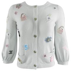 Chanel 08P Limited Edition Lucky Charms Light Blue Cashmere Cardigan