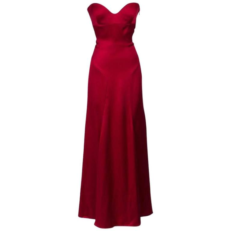 Gianni Versace Red Satin Strapless Gown