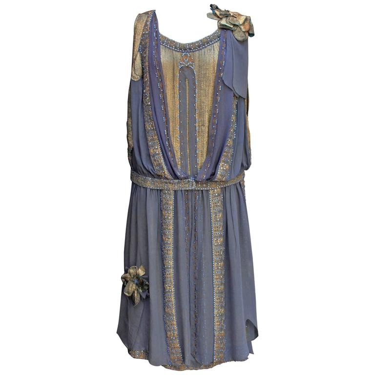 1920s Night Blue and Goldtone Lame Dress For Sale