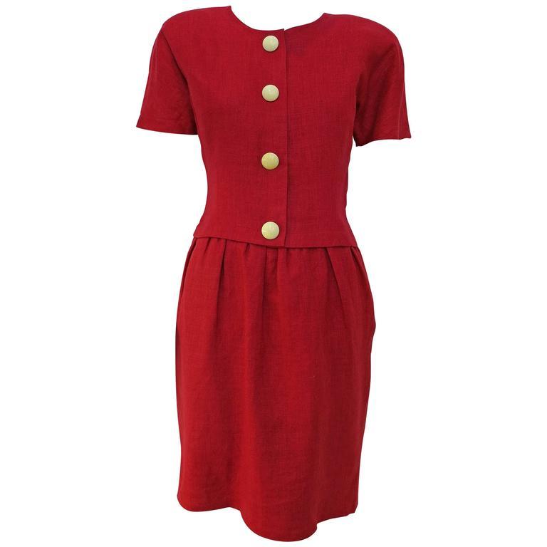 1980s Oscar de la Renta Magenta Linen Dress