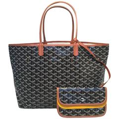 Goyard St Louis PM Tote in Black and Brown