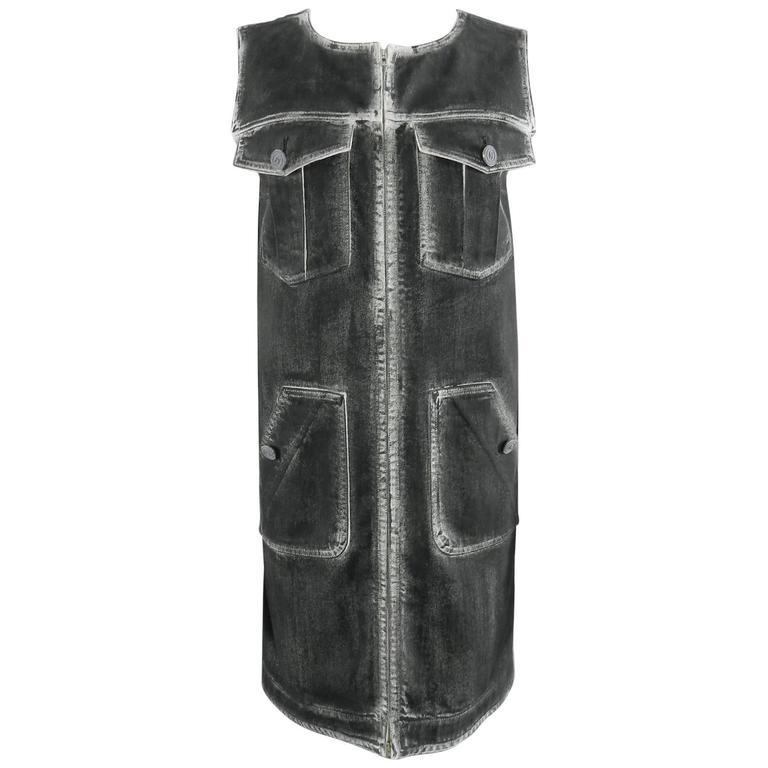 Chanel 14S Runway Grey Distressed Denim Vest For Sale