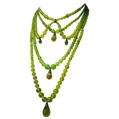 Late 1990s Christian Dior by Galliano Green Massai Necklace