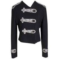 Balmain Wool Cropped Military Style Jacket with Embellishments