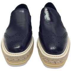 Prada Navy Leather Espadrille NIB Oxford