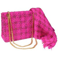 1990s Chanel Pink Tweed Bag and Matching Scarf