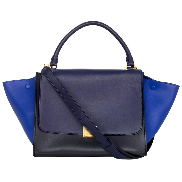 Celine Blue/Black/Navy Tri-Color Leather Medium Trapeze Bag w/ Strap 1