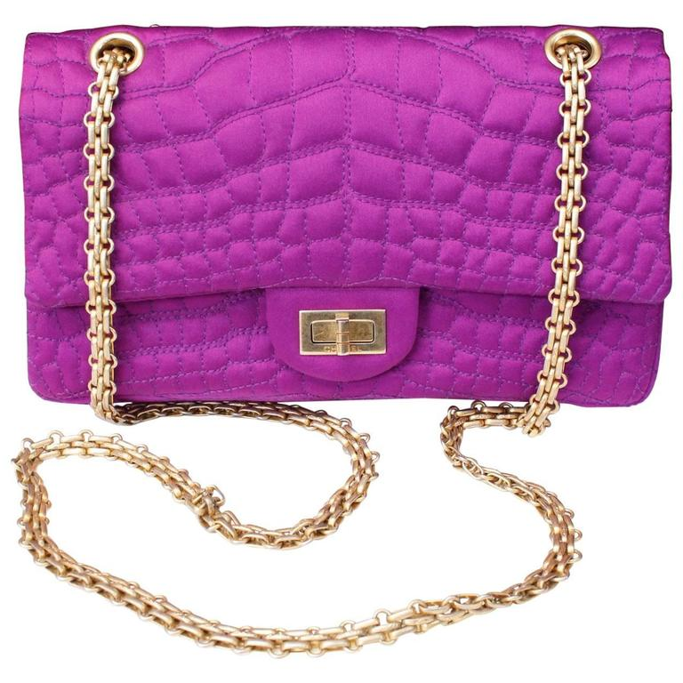 2000s Chanel 2-55 Purple Satin Shoulder Bag with Crocodile Pattern 1