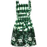 OSCAR DE LA RENTA Resort 2013 Green Gingham Floral Print Garden Party Dress