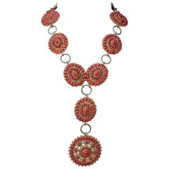 1993 Incredible Chanel Statement Necklace with Red Glass by Gripoix