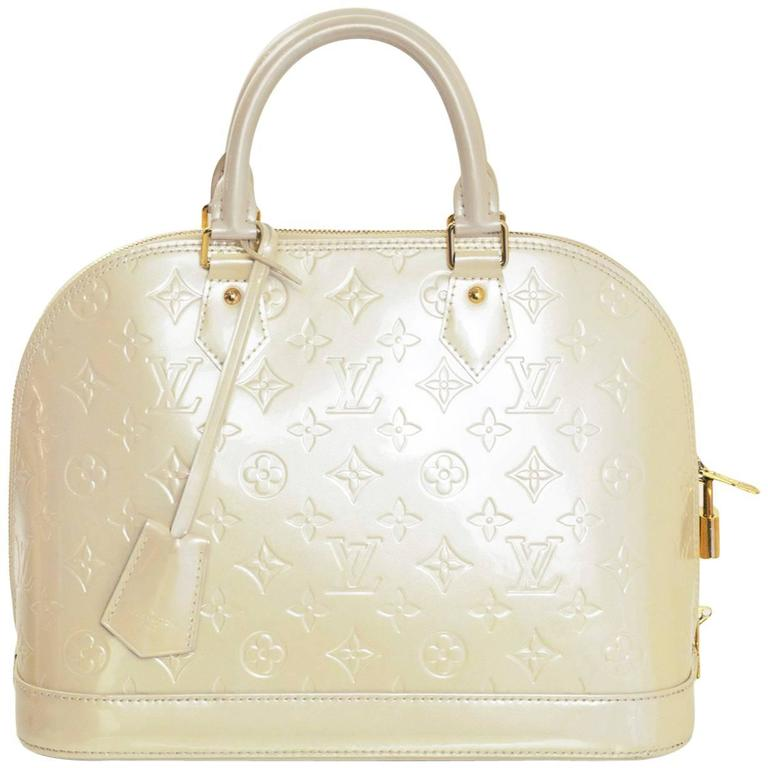 Louis Vuitton Beige Vernis Patent Leather Monogram Alma Pm Bag For