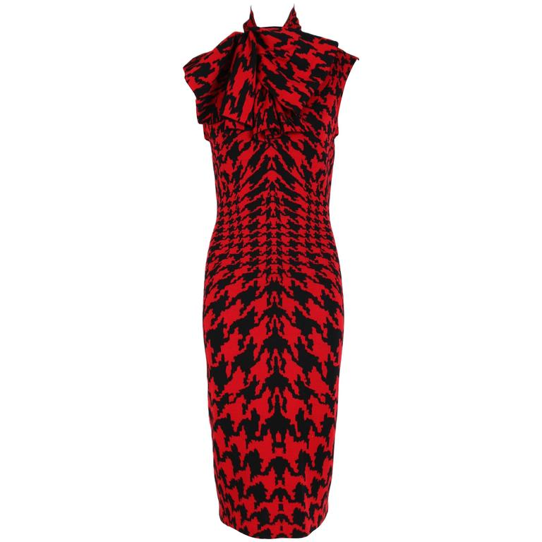 "2009 Alexander McQueen ""Horn of Plenty"" Dogtooth Pattern Dress in Red & Black"
