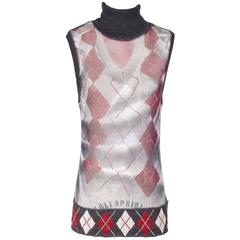 Jean Paul Gaultier Argyle Mesh Vest with Wool Turtleneck Collar