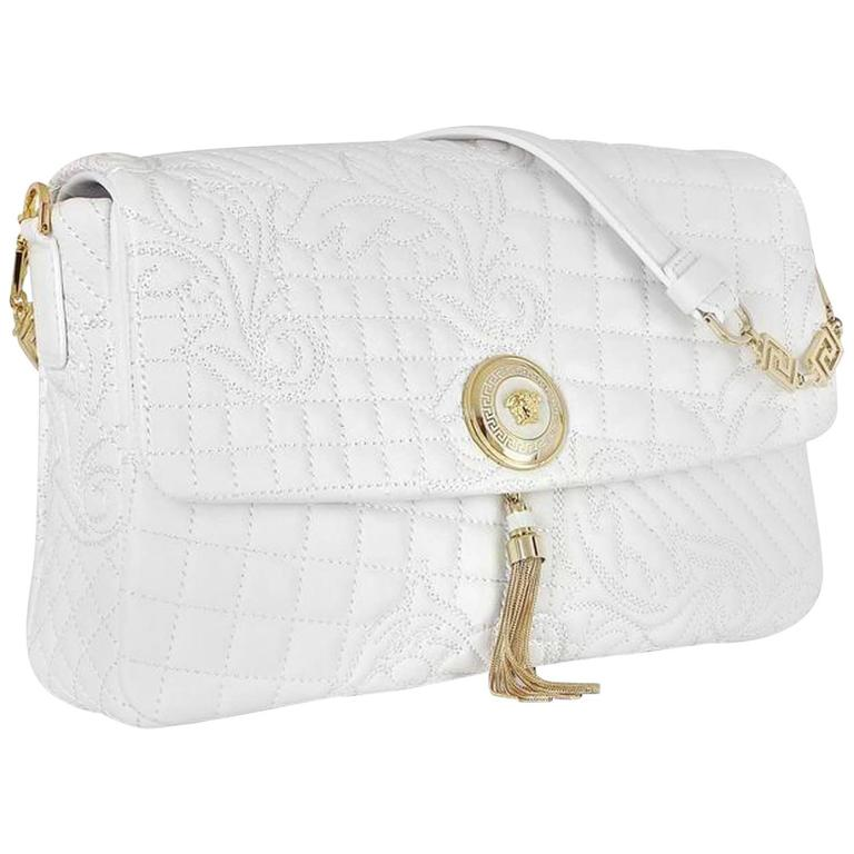 New Versace White Vanitas Barocco Quilted Na Leather Handbag With Gold Medusa For