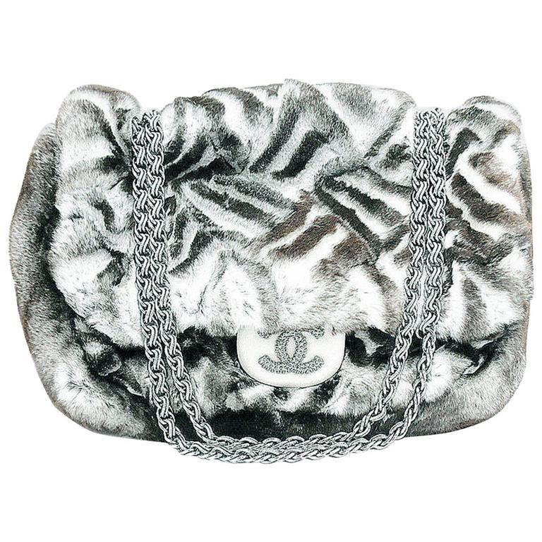 Chanel Limited Edition Black & White Chinchilla Fur  Handbag For Sale