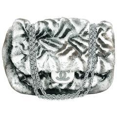 Chanel Limited Edition Black & White Chinchilla Fur  Handbag