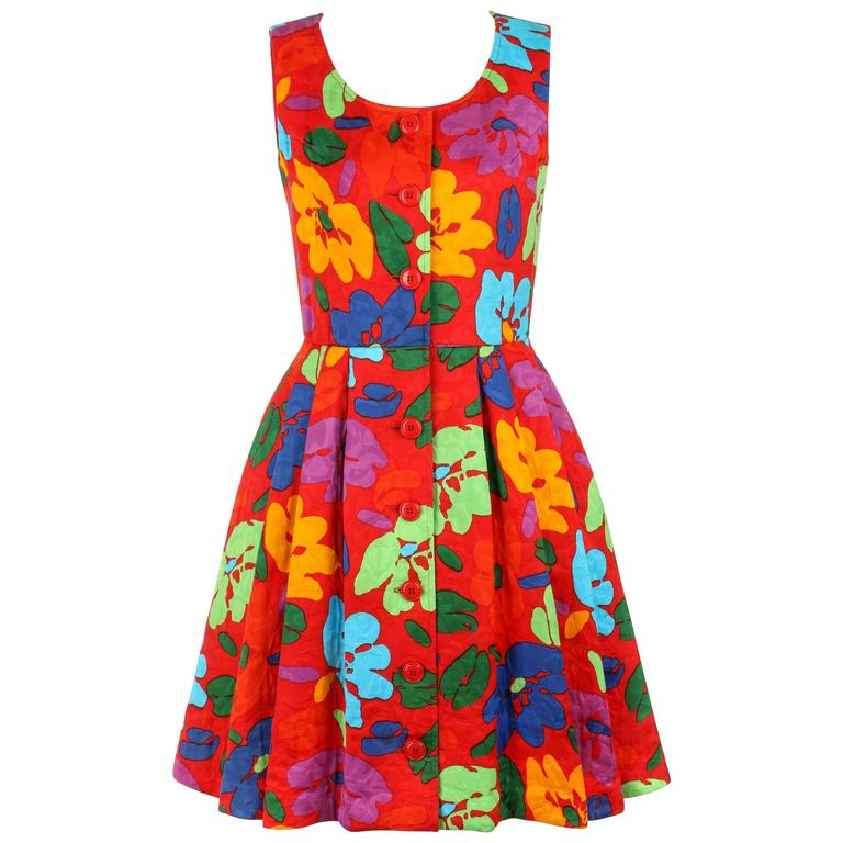 OSCAR DE LA RENTA c.1990's Red Multicolor Floral Print Button Front Day Dress