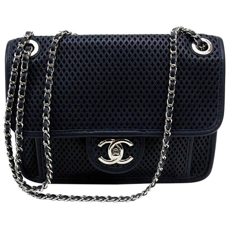 d60de270306702 Chanel Navy Blue Perforated 'Up in the Air' Small Flap Bag at 1stdibs