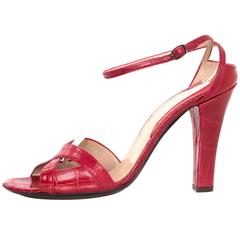 Brioni Red Crocodile Strappy Sandals sz 40