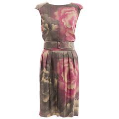Dries Van Noten Silk Linen Floral Skirt Suit Ensemble, Spring 2007