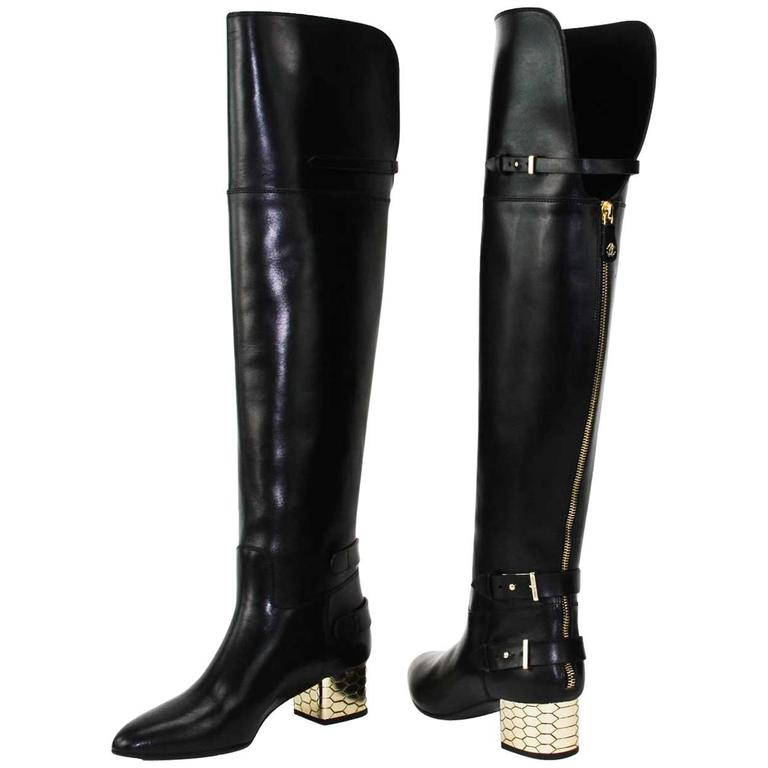 New Roberto Cavalli Over-the-knee Leather Boots Honeycomb Pattern Heel 36.5, 37