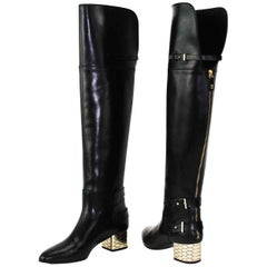 New Roberto Cavalli Over-the-knee Leather Boots Honeycomb Pattern Heel 36.5  6.5