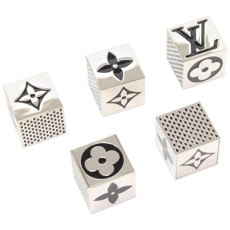 Louis Vuitton Black x Silver Tone Cube Dice Game Set - 2011 Limited 1