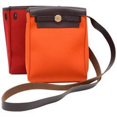 Hermes Herbag TPM Dark Brown Leather  x Orange and Red Canvas Shoulder Bag