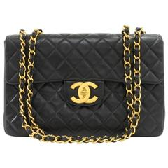"""Chanel 13"""" Maxi Jumbo Black Quilted Leather Shoulder Flap Bag"""