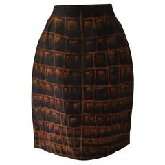 Gianni Versace Couture Silk Organza Printed Skirt Spring 1992