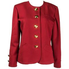 1990s Yves Saint Laurent red wool jacket