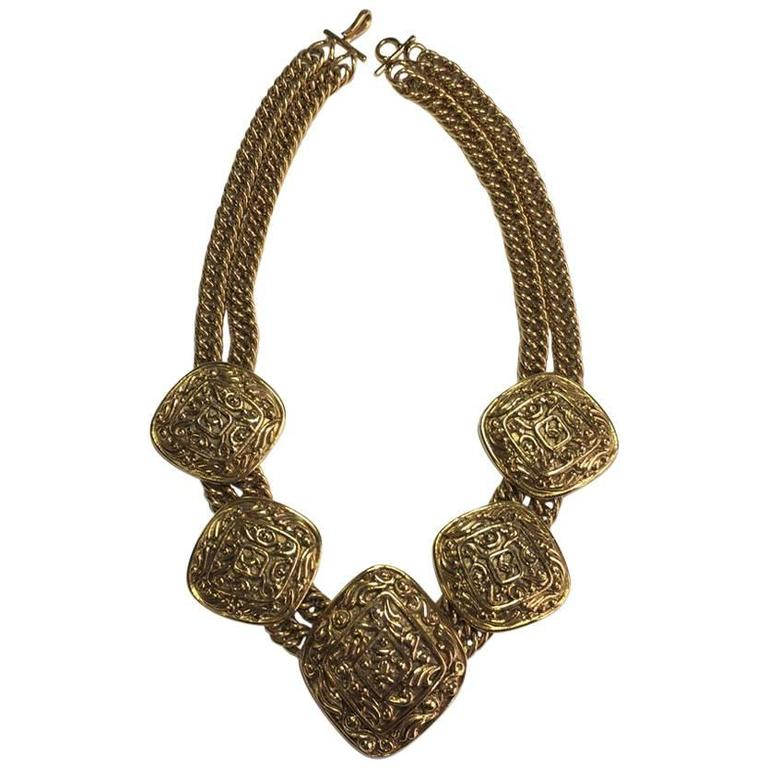 Chanel Couture Necklace Gilt Metal For Sale